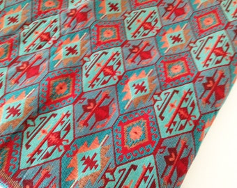 5 Meters/Yards Blue red Ethnic Tribal Style Upholstery Fabric,Cotton Woven Fabric,Tapestry Fabric,Aztec Navajo Geometric Design Kilim Fabric