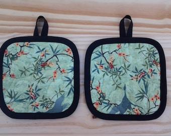 Handmade Quilted Pot holders/Hot Pads Green Bird Print Set of 2