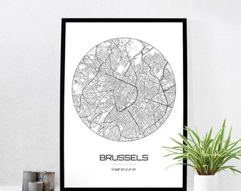 Brussels Map Print - City Map Art of Brussels Belgium Poster - Coordinates Wall Art Gift - Travel Map - Office Home Decor