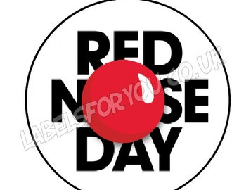 35 x 37mm Personalised Birthday Party Red Nose Day Logo Stickers Labels