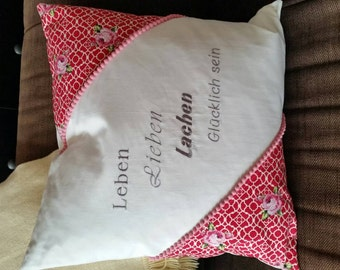 "Cushion ""life love laughter be happy"""
