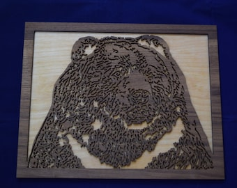 Laser cut Grizzly Bear 9X11