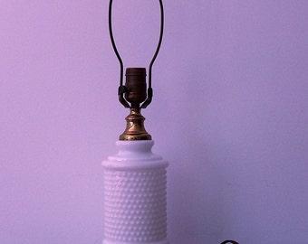 Vintage White Milk Glass Hobnail Table Lamp
