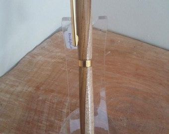 Bespoke handturned laburnum slimline ballpoint pen unique gift Father's Day gift, teachers end of term gift