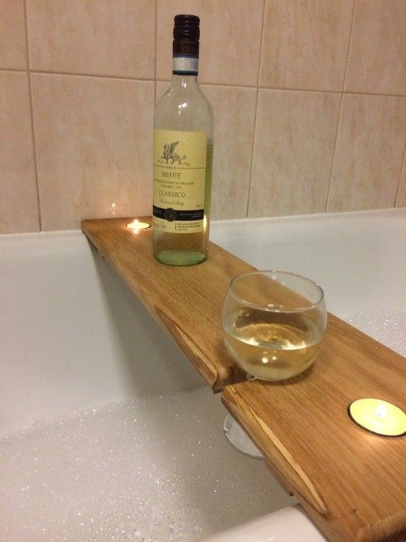 Hardwood Wooden Bath Caddy Bath Shelf Wine By Countrytouchesuk