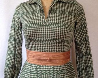 1970s green print jersey dress