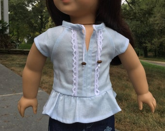 Girl doll shirt, Peplum top, Lace trim, Doll top, Trendy blouse, Tunic, Sized like American 18 Girl doll clothes