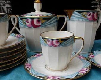 MG Limoges Mavaleix & Granger, art deco coffee service, 1920s French vintage porcelain, cups, saucers, creamer, sugar pot