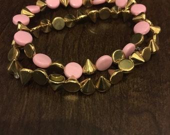 Pink and Gold studded Bracelet