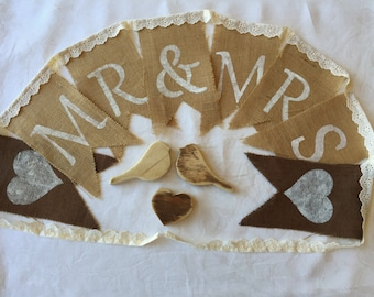 """Hand painted """"Mr & Mrs"""" Vintage styled burlap/ hessian Bunting Flags. Weddings/ Bridal Shower/ Proposals"""