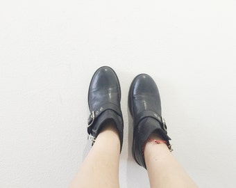 Women's Vintage Buckled Black Leather Ankle Boots