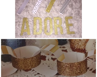 Glittered banner and paper chain banner