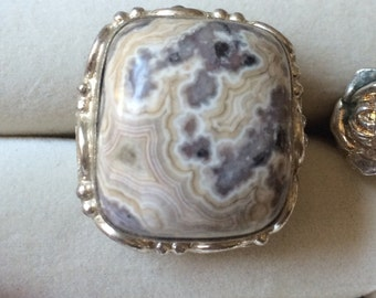 Sterling Silver Marble Stone Ring Size 7.5
