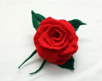 Red Rose - Felted Flower/Brooch
