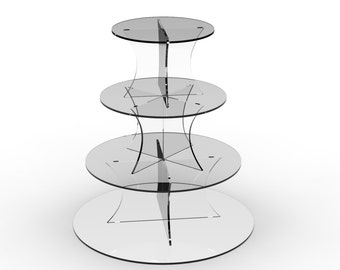 4 Tier Circle round acrylic wedding cupcake patry