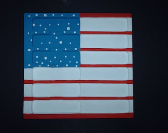 American Flag Painting on Wooden Knife Drawer - Original