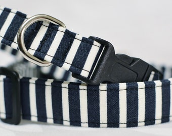 Navy Stripe Dog Collar / Size XS / Ready-To-Ship