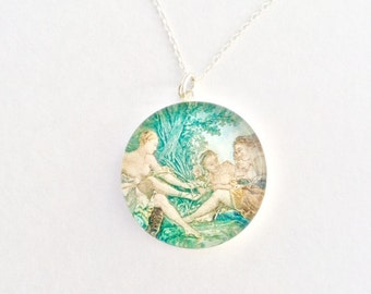 Dramatic Diana: Sterling Silver and Resin Pendant Necklace