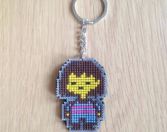 Frisk Keychain, Undertale, Cross Stitched Keychain, Undertale Gift, Video Game Gift, Cross Stitch Gift, Undertale Keychain