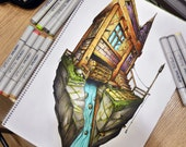 Crying house, a Copic markers original sketch