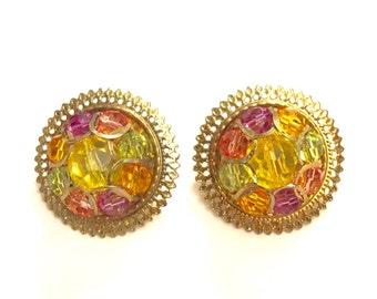 Vintage beaded round gold earrings