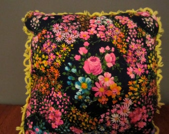 Handmade Vintage Fabric Pillow 13 x 13