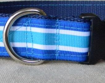 Blue Stripe Contrast Stitch Dog Collar