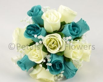 Artificial Wedding Flowers, Teal & Ivory Bridesmaids Bouquet Posy (1)
