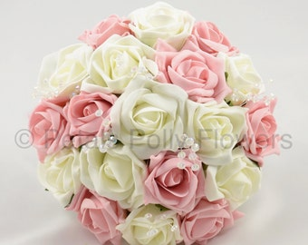 Artificial Wedding Flowers, Antique Pink & Ivory Bridesmaids Bouquet Posy