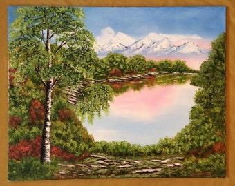 Landscape painting 'The Dawn', original landcape oil painting, oil on canvas 80x100cm