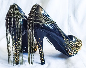 One of a kind Custom hand decorated Black patent high heels