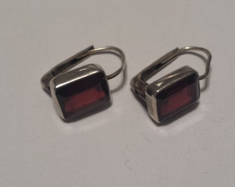 Sterling Silver .925 Earrings With Garnets