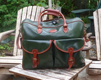 Tusting, Made in England, Green, Tan and Yellow Leathers, Vintage