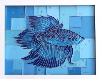 cold cloisonne resin art blue fish siamese fighting fish Bernard rr31
