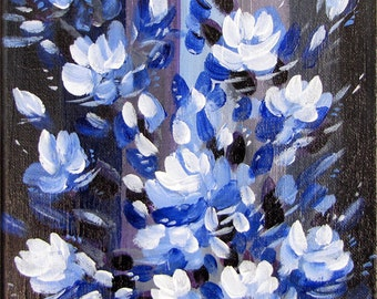 Blue Mood Flowers, Original Painting, Acrylic on Canvas, Signed by Artist.