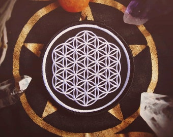 "Flower of Life - Sacred Geometry Patch - New Age, Punk Fashion Accessory - 3"" Iron On Embroidered Patch - Metaphysical Item"