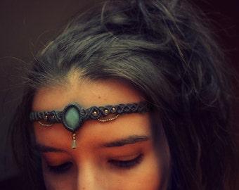 Macramé headband with amazonite and brass beads