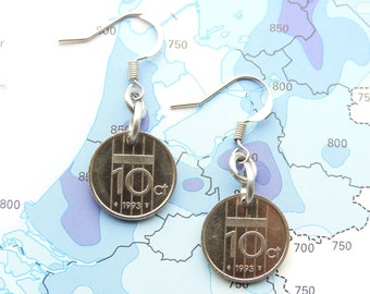 Netherlands dime coin earrings in year of birth 1990 - 1991 - 1992 - 1993 - 1994 - 1995 - 1996 - 1997 - 1998 - 1999 - 2000