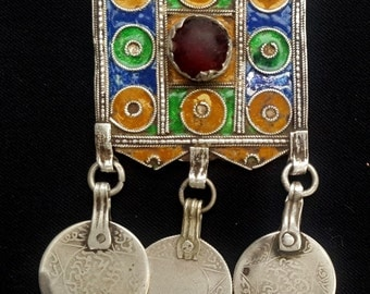 Morocco old Silver Amulet « Hirz » Pendant, Enamel and Glass cabochons ancient coins