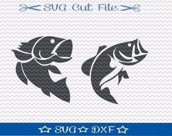 Bass Fishing SVG /  Cut File for Silhouette or Cricut / Animal SVG / Fish SVG