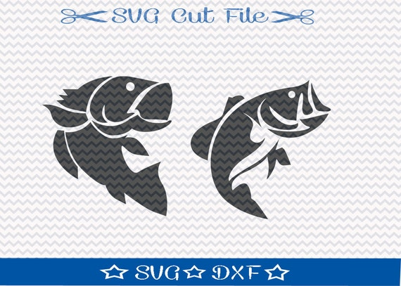 Bass Fishing SVG  Cut File for Silhouette or Cricut  Animal SVG