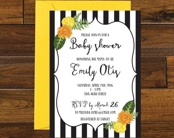 Stripes and Floral Baby Shower Invitation