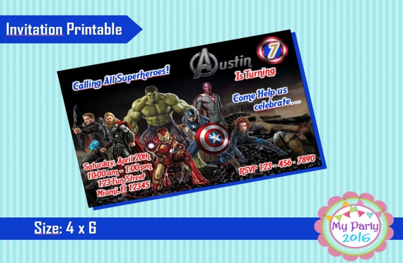 Avengers Birthday Party Invitation - Printable