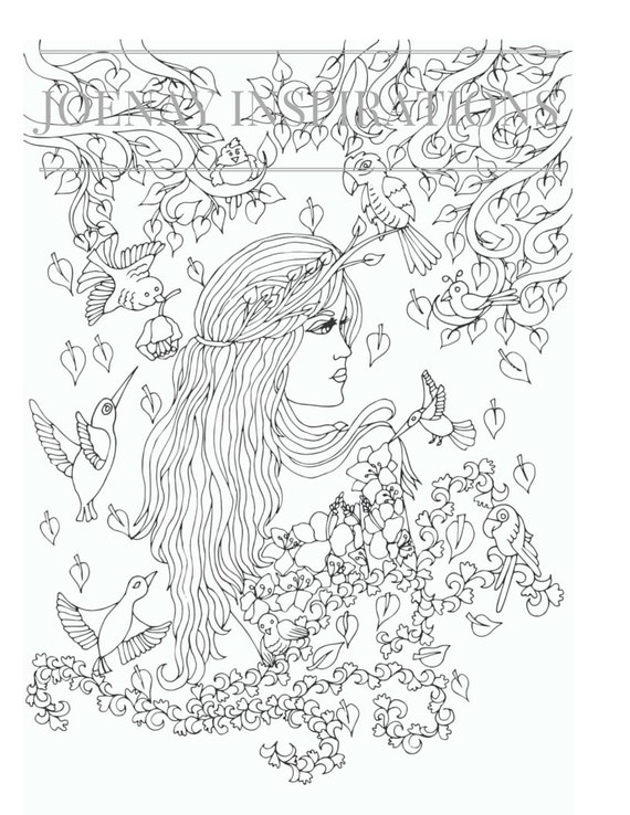 Adult Coloring Book, Printable Coloring Pages, Coloring Pages, Coloring Book for Adults, Instant Download, Faces of the World 1 page 8