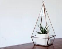 Glass Terrarium - Teardrop Terrarium / Hanging Terrarium / Display Box / Candle Holder by Geodesium