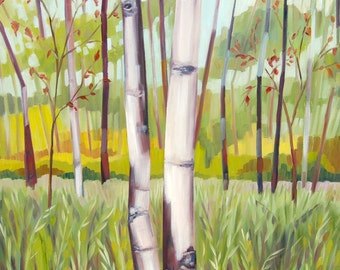 Two Birch Trees Landscape Original Oil Painting