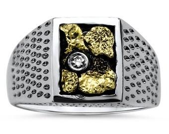 2193#   Men's Gold Nugget Ring-Promotion  20% Off