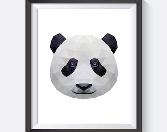 Panda Art, Panda Print, Panda Wall Art, Geometric Panda Art, Polygon, Digital Print Wall Art, PDF