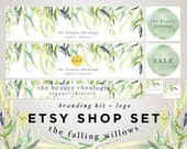 Etsy Store Banner Set - Watercolor Willow Tree Leaves - Green Gold - Custom Logo Design - Shop Icon Custom Reserved  -  Branding Package 6