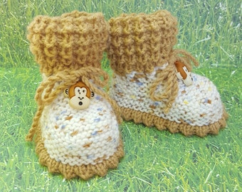 Monkey baby booties, brown booties, booties with strings booties with ropes stay on booties stay on socks Baby Booties, Baby Gifts,